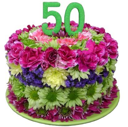 W superbly Tort kwiatowy na 50 urodziny ZQ36